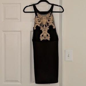 Black high neck, cocktail dress